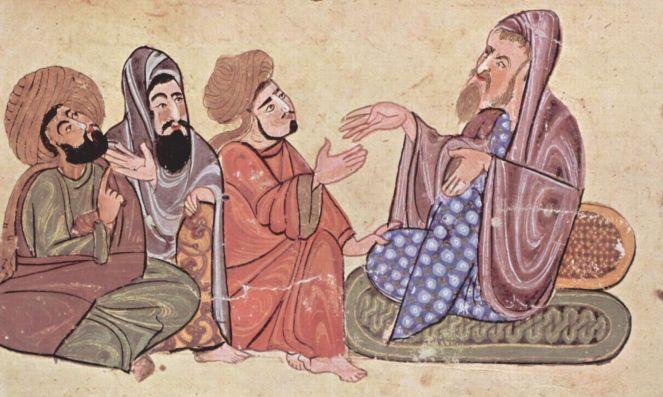 Απεικόνιση του Σόλωνα ενώ διδάσκει σε Ισλαμική μινιατούρα