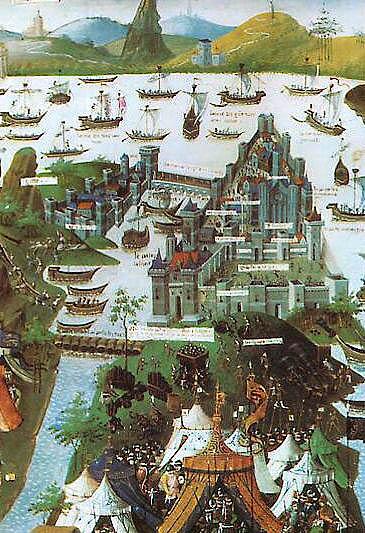 Πολιορκία της Κωνσταντινούπολης από Bibliothèque nationale mansucript Français 9087 (Folio 207 v). Ο τουρκικός στρατός του Μωάμεθ Β επιθέσεις στην Κωνσταντινούπολη το 1453. Ορισμένοι στρατιώτες που δείχνουν κανόνια στην πόλη και άλλοι τράβηγμα σκάφη στο Κεράτιο Κόλπο.