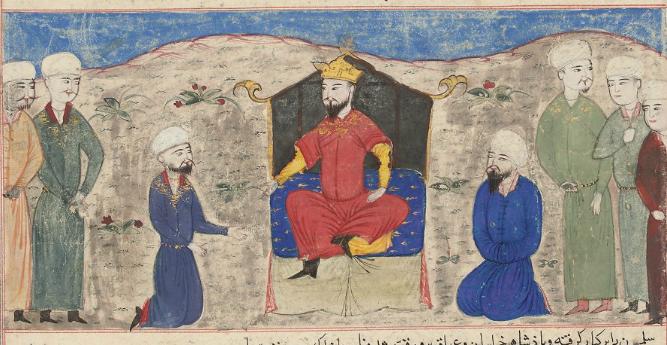 O Αλπ Αρσλάν στον θρόνο_έργο του Hafiz_Abru_1425