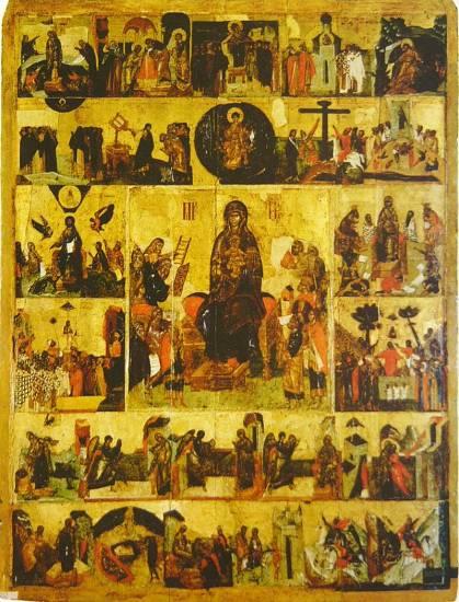 «Ο Ακάθιστος Ύμνος», ρωσική εικόνα του 14ου αιώνα. Στο κέντρο εικονίζεται η Παναγία, ενώ καθεμιά από τις μικρές περιφερειακές εικόνες αφορά τη διήγηση ενός από τους 24 «οίκους» του Ακάθιστου Ύμνου