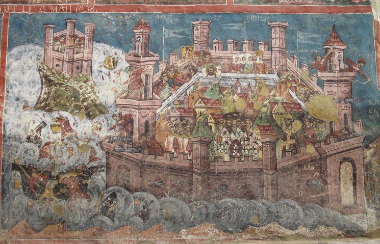 Η πολιορκία της Κωνσταντινούπολης το 626 που απεικονίζεται στις τοιχογραφίες της Μονής Μολντοβίτα, Ρουμανία