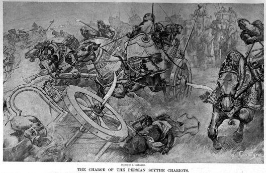 η επίθεση των περσο σκυθικών αρμάτων στην μάχη των γαυγαμήλων - πίνακας του andre castaigne_1898 πηγή: wikipedia