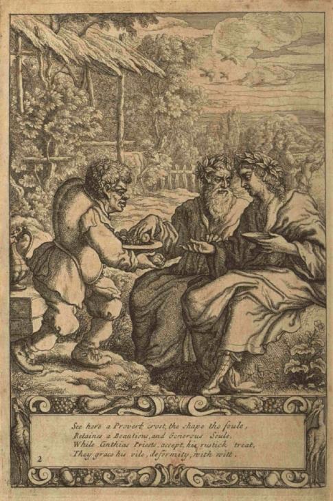Ο Αίσωπος ενώ σερβίρει δύο ιερείς_πίνακας του Francis_Barlow_1687_wikipedia