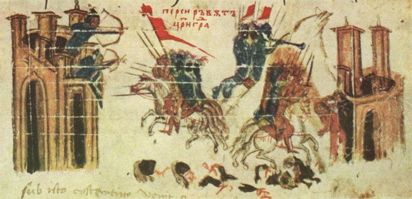Απεικόνιση της πολιορκίας από το Χρονικό του Κωνσταντίνου Μανασσή