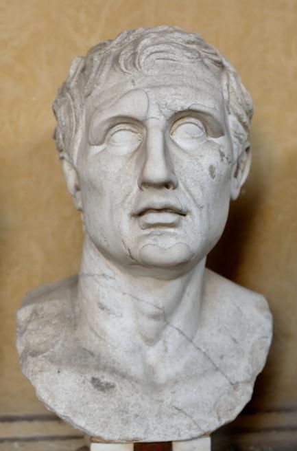 Προτομή του Μενάνδρου στο Μουσείο Κιαραμόντε