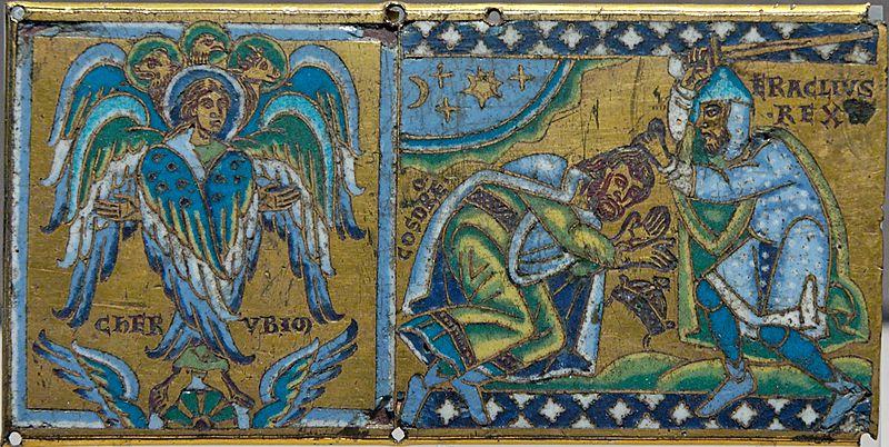 Χάραξη σε χαλκό απεικονίζουσα τα Χερουβείμ και τον αυτοκράτορα Ηράκλειο να δέχονται την υποταγή του Χοσρόη Β'_μουσείο Λούβρου_wikipedia
