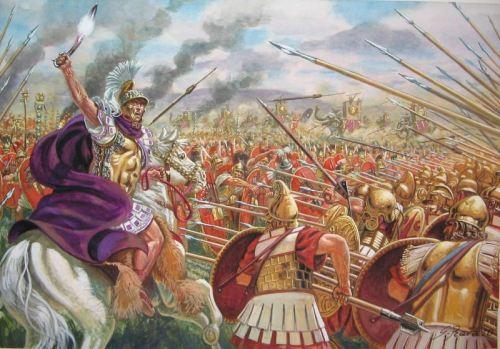 Ο  βασιλιάς  Πύρρος  στη  μάχη  του  Ασκλου  εναντίον  των  Ρωμαίων  (279  π.Χ.)  σε  εξαίρετο  πίνακα  του  Giuseppe  Rava.  Σε  πρώτο  πλάνο,  η  μακεδονικού  τύπου  φάλαγγα  των  Ηπειρωτών  και  Μακεδόνων  του  Πύρρου,  η  οποία  κατατρόπωσε  τους  Ρωμαίους  (Copyright:  Giuseppe  Rava)