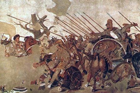 Μεγ. Αλέξανδρος εναντίον Δαρείου στην μάχη της Ισσού – μωσαϊκό του 100 π.Χ που βρέθηκε στην Πομπηία
