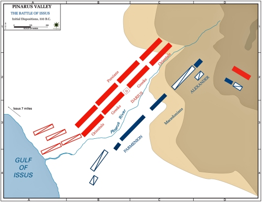 μάχη της Ισσού - χάρτης παράταξης δυνάμεων - πηγή /www.emersonkent.com