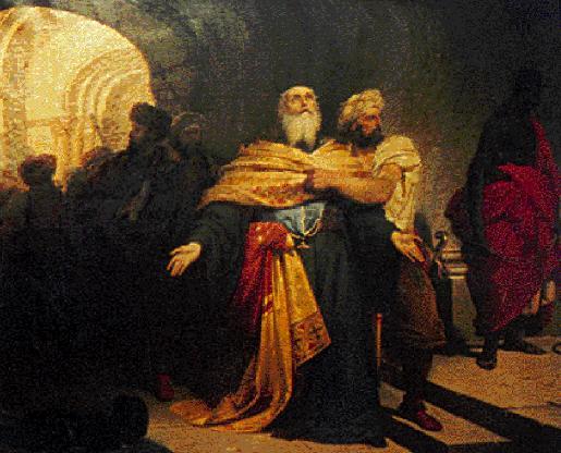 Ο Πατριάρχης Γρηγορίος Ε΄ συρόμενος στην αγχόνη», Λεπτομέρεια από τον πίνακα του Νικηφόρου Λύτρα