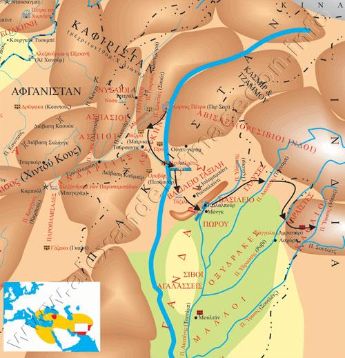 χάρτης διαδρομής Αλεξάνδρου στην Ινδία (Σάγγαλα)
