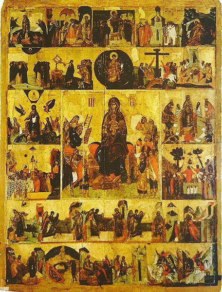 «Ο Ακάθιστος Ύμνος», ρωσική εικόνα του 14ου αιώνα. Στο κέντρο εικονίζεται η Παναγία, ενώ καθεμιά από τις μικρές περιφερειακές εικόνες αφορά τη διήγηση ενός από τους 24 «οίκους» του Ακάθιστου Ύμνου_πηγή wikipedia