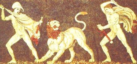 Μεγ. Αλέξανδρος και Κρατερός σε κυνήγι λέοντα_ψηφιδωτό_μουσείο Πέλλας