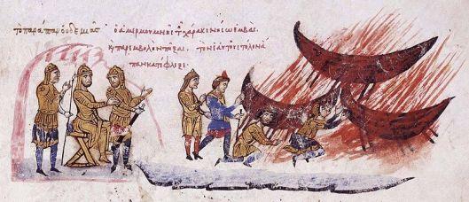 Ο Αποχάβος διατάσσει την πυρπόληση του στόλου του_Ιστορία Ιωάννου Σκυλίτζη_Μουσείο μαδρίτης