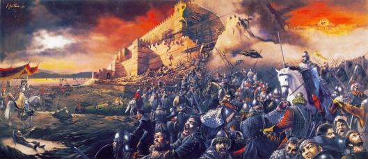 Άλωση της Κωνσταντινούπολης_πίνακας Ιωάννη Νίκου