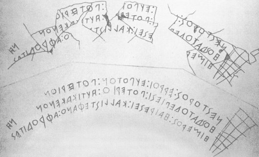 Κύπελλο του Νέστορος_ 8αι. πΧ με γραφή της Κύμης_τμήμσ κοτύλου (σκεύος μέτρησης υγρών) που ανακαλύφθηκε στις Πιθηκούσες (αποικία της Μεγάλης Ελλάδος στην Σικελία
