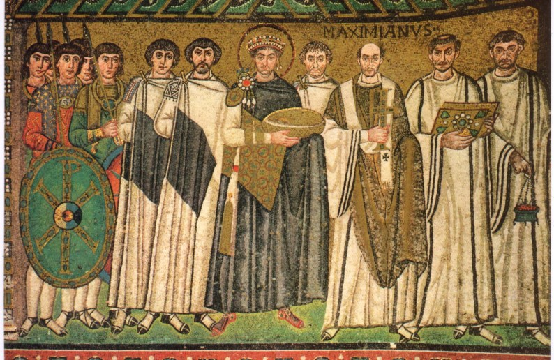 Ιουστινιανός και Βελισσάριιος (ο ιστάμενος δεξιά του Ιουστινιανού)