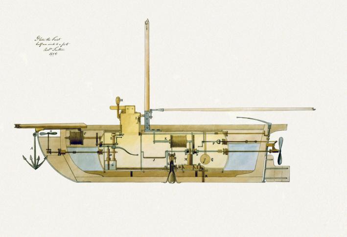 Σχέδιο υποβρυχίου του Robert Fulton του 1806 το οποίο πιθανώς απετέλεσε έμπνευση για το αντίστοιχο σχέδιο του Johnson. Τα έγγραφα προέρχονται από το Αμερικανικό προξενείο του Λονδίνου και δημοσιεύθηκαν το 1920. Πηγή_ Wiki commons.png