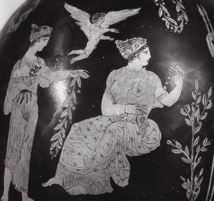 Ευδαιμονία Πανδαισία και Έρως_αττικός αμφορέας_400-450 πΧ_Βρεττανικό μουσείο