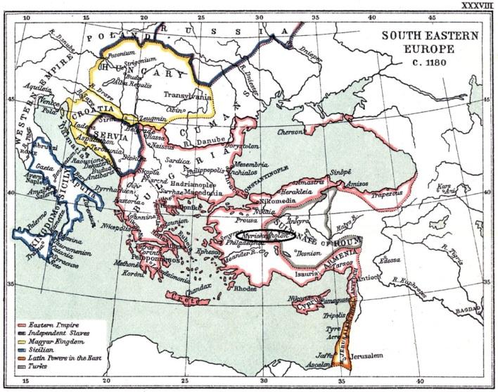 Χάρτης Βυζαντινής αυτοκρατορίας στον οποίον απεικονίζεται η θέση του Μυριοκεφάλου