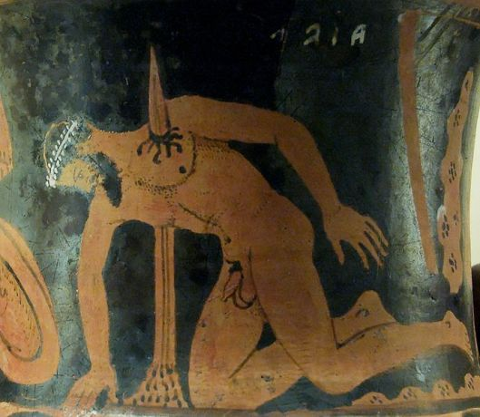 The suicide of Ajax the Great. Etrurian red-figured calyx-krater, ca. 400–350 BC. Said to be from Vulci.