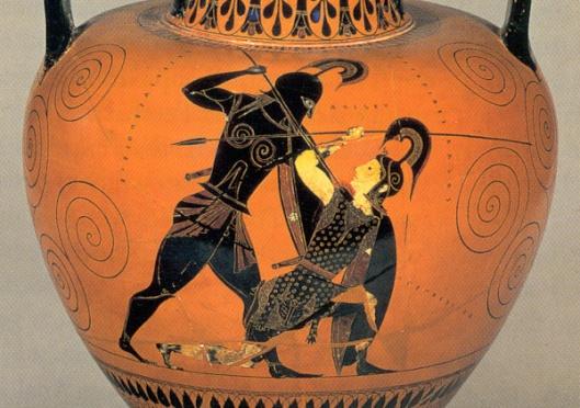 Ο Αχιλλέας σκοτώνει την Πενθεσίλλεια_ερυθρόμορφος κρατήρας_