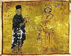 Ο Μιχαήλ Ψελλός (αριστερά) με τον μαθητή του, αυτοκράτορα Μιχαήλ Ζ' Δούκα Παραπινάκη_πηγή wikimedia