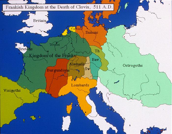 Χάρτης Φραγκικού κράτους μετά τον θάνατο του Χλωδοβίκου.
