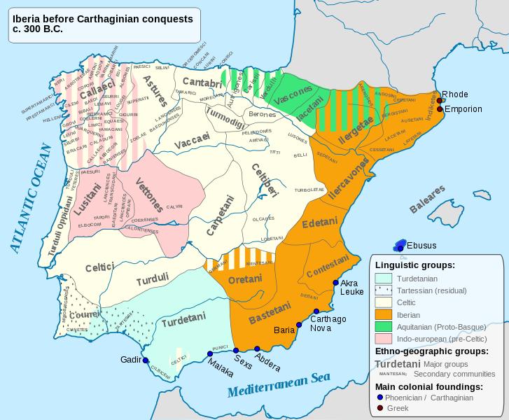 Χάρτης Ιβηρικών φυλών