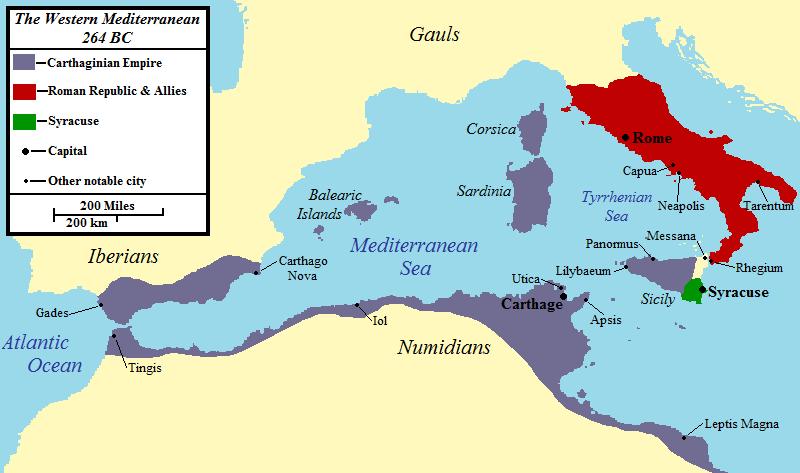 Χάρτης 1ου καρχηδονιακού πολέμου
