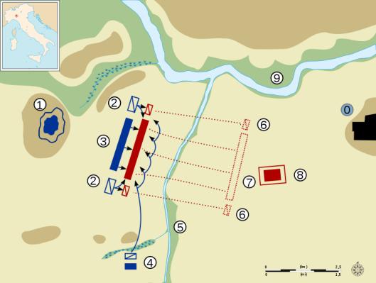 Χάρτης της μάχης του ποταμού Τρέβια