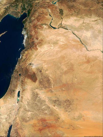 Δορυφορική εικόνα Κοίλης-Συρίας, όπου διεξήχθησαν οι Συριακοί Πόλεμοι_πηγή wikipedia