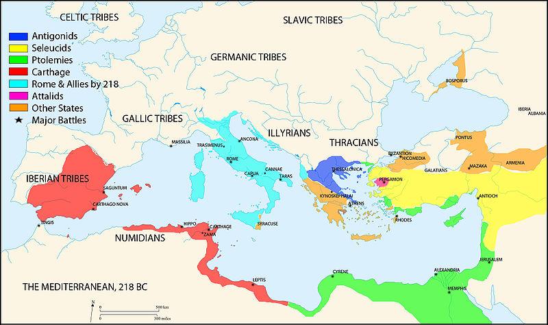 Χάρτης Μεσογείου το 218 π.Χ_πηγή wikipedia