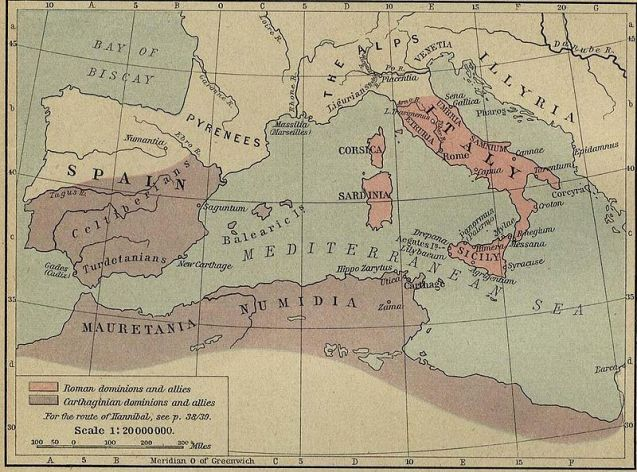 Εδάφη Ρώμης - Καρχηδόνας κατά την συνθήκη του Έβρου