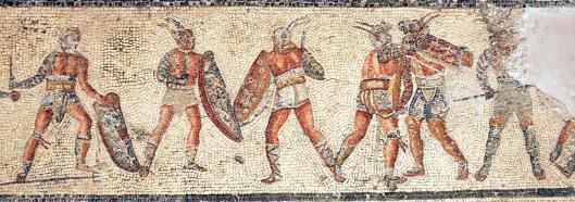 Αναπαράσταση μονομάχων_Ρωμαϊκό μωσαϊκό_Villa Dar Buc Ammera_μουσείο Τρίπολης Λιβύης