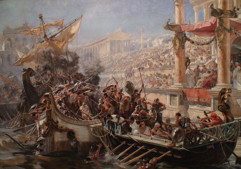 Ελαιογραφία με αναπαράσταση αγώνων Ρωμαικής Ναυμαχίας_1894_Παρίσι