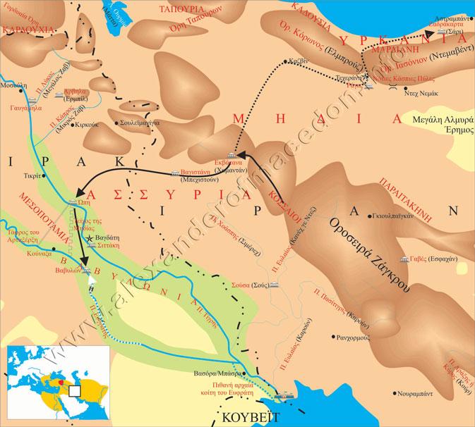 Στα τέλη του χειμώνα-αρχές της άνοιξης του 323 ο Ηρακλείδης προχωράει προς την Υρκανία κι ο Αλέξανδρος περνάει τον Τίγρη επιστρέφοντας στη Βαβυλώνα, όπου συναντάται με το Νέαρχο.