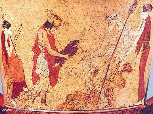 Ερμής, Σειληνός, Διόνυσος,Νυσιάδες_Ατιικός ερυθρόμορφος κάλυκας_440 πΧ_μουσείο Βατικανού_theoi.com
