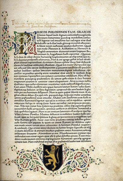 """Πλουτάρχου """"Βίοι παράλληλοι"""" αντίγραφο του Ulrich-Han_1470_Πανεπιστήμιο Leeds_wikimedia commons"""