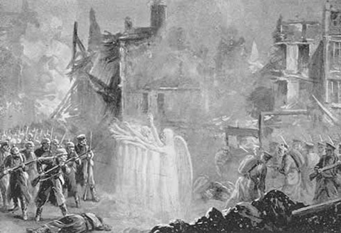 "Shining Angels throw a protective curtain around men from the Lincolnshire Regiment at Mons"". Illustration by Alfred Pearse published in The Chariots of God, by A. Churchwoman, 1915"