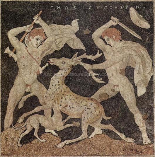 Αλέξανδρος και Κρατερός σε κυνήγι ελάφου_μωσαϊκό_Πέλλα_300 π.Χ