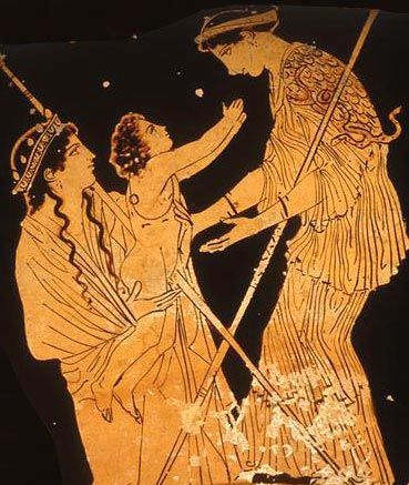 Η γη παραδίδει τον Ερυχθόνιο στην Αθηνά_αθηναϊκός ερυθρόμορφος κύλικας_500 πΧ_Βερολίνο