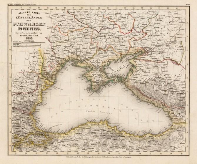 Χάρτης με τις παράκτιες χώρες της Μαύρης θάλασσας