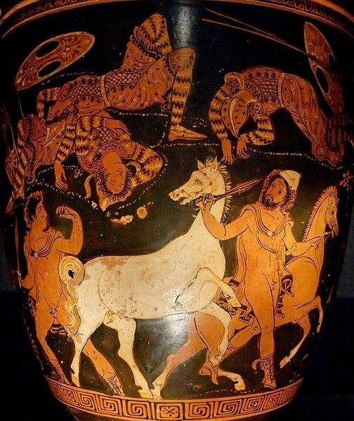 Οδυσσέας και ∆ιομήδης κλέβουν τα άλογα του βασιλιά των Θρακών, Ρήσου τον οποίο μόλις έχουν σκοτώσει. Ερυθρόμορφο αγγείο, περί το 360 π.Χ