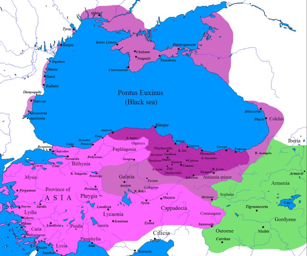 Χάρτης του βασιλείου του Πόντου. Πριν την βασιλεία Μιθριδάτη (σκούρο μωβ) _μετά τις κατακτήσεις (μωβ)_με τις κατακτήσεις στον 1ο Μιθριδατικό πόλεμο (ανοιχτό μωβ)_πηγή wikipedia