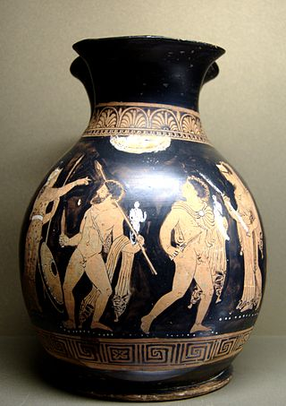 Οδυσσέας και Διομήδης αρπάζουν το Παλλάδιο από την Τροία (κοκκινόχρωμη ζωγραφική σε οιχνοχόο που χρονολογείται γύρω στο 360 - 350 π.Χ. από την περιοχή της Καλαβρίας-πηγή)