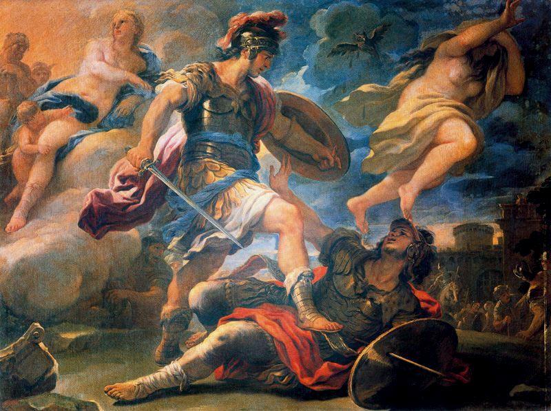 Ο Αινείας νικά τον Τόρνο_απόσπασμα από την Αινειάδα_πίνακας του Luca Giordano