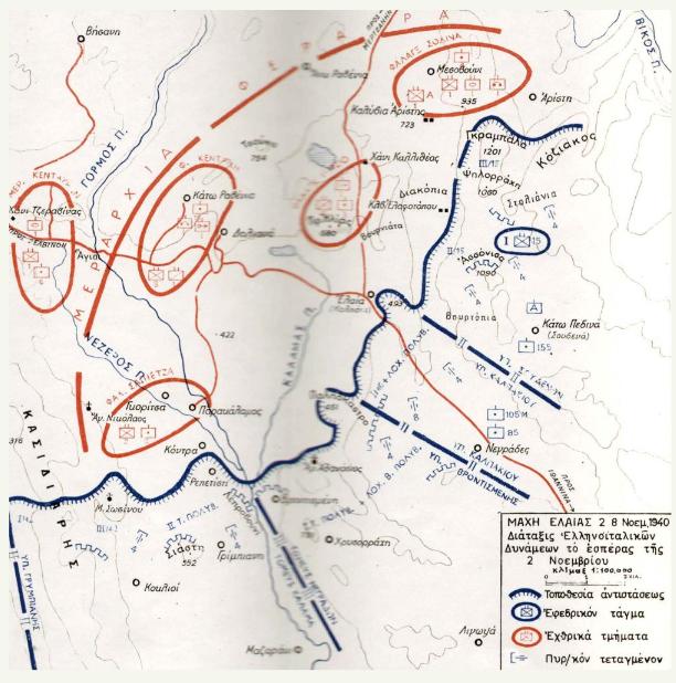 Σχεδιάγραμμα μάχης Ελαίας (Καλπακίου_ - Καλαμά