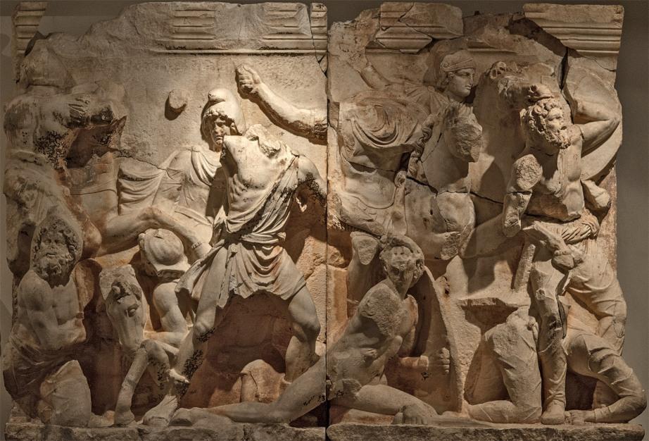 Σκηνή από τους Παρθικούς πολέμους_δολομιτικό μάρμαρο Θάσου_Βιέννη μουσείο Εφέσσου.