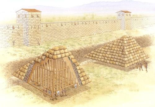 ΚΙνούμενες πολιορκητικές χελώνες που χρησιμοποιήθηκαν από τον Μέγα Αλέξανδρο κατά την πολιορκία της Αλικαρνασσού. Οι μηχανές παρείχαν προστασία σε περίπου δώδεκα εργαζόμενους η καθεμία, όταν αυτοί εργάζονταν στην επιχωμάτωση των τάφρων, προκειμένου να καταστεί δυνατή η προσέγγιση των λοιπών πολιορκητικών μηχανών.